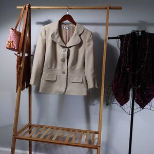 Tahari Career Blazer Jacket Beige Tan Tweed S